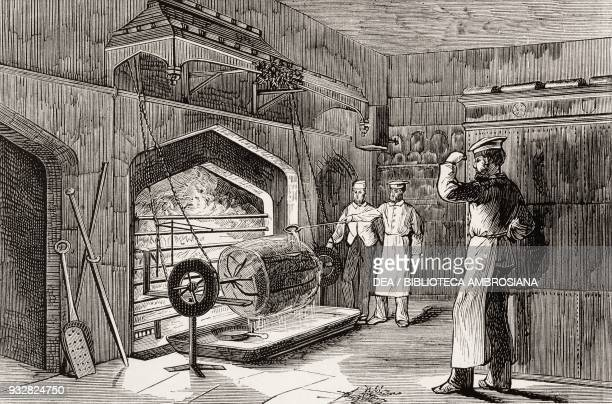 The spitroast of the Baron of Beef in the kitchens of Windsor Castle illustration from La Ilustracion Espanola y Americana magazine Year 19 Number 4...