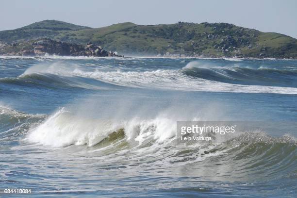 The splash of the waves against the strong wind - Laguna, Santa Catarina - Brazil