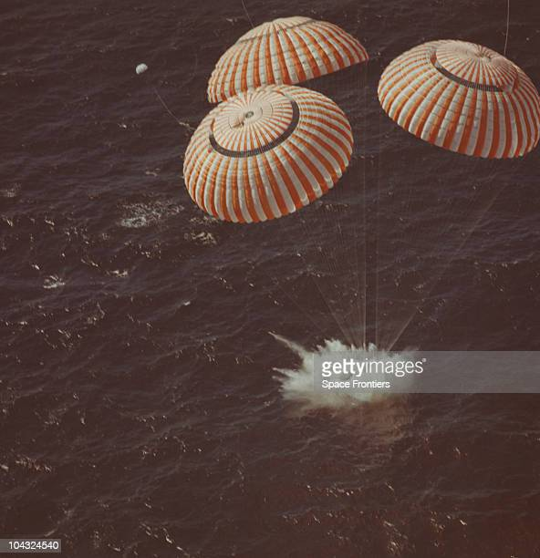 The splashdown of the Apollo 16 Command Module in the Pacific Ocean after its successful lunar landing mission 27th April 1972