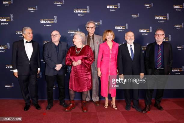 The Splendid : Christian Clavier, Michel Blanc, Josiane Balasko, Thierry Lhermitte, Marie-Anne Chazel, Gerard Jugnot and Bruno Moynot arrive at the...