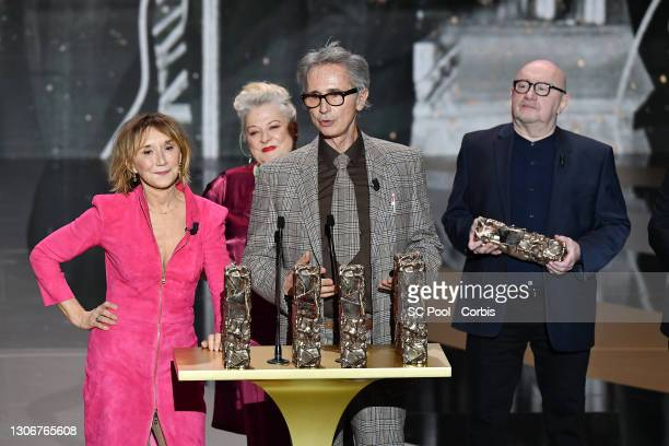 The Splendid Troop : Marie-Anne Chazel, Josiane Balasko, Thierry Lhermitte and Michel Blanc receive the Honorary Cesar award during the 46th Cesar...