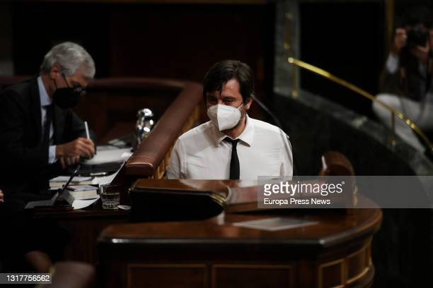 The spokesman for Podemos, Rafa Mayoral, prepares to speak at a plenary session in the Congress of Deputies, on May 13, 2021 in Madrid, Spain. The...