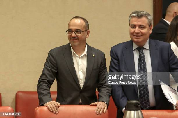 The spokesman of PdeCAT in the Parliament Carles Campuzano and the deputy Jordi Xuclà attend the meeting of the Permanent Deputation at the...