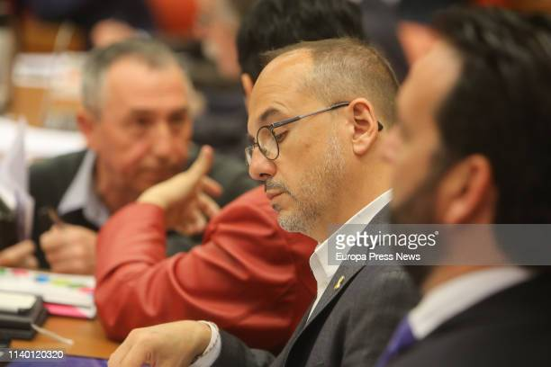 The spokesman of PdeCAT party Carles Campuzano is seen during the meeting of the Permanent Deputation at the Parliament on April 03 2019 in Madrid...