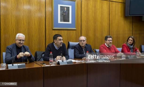 The spokesman of the PSOE Parliamentary Group of Andalusia Mario Jimenez attends the press in presence of the counsellors Manuel Jimenez Barrios...