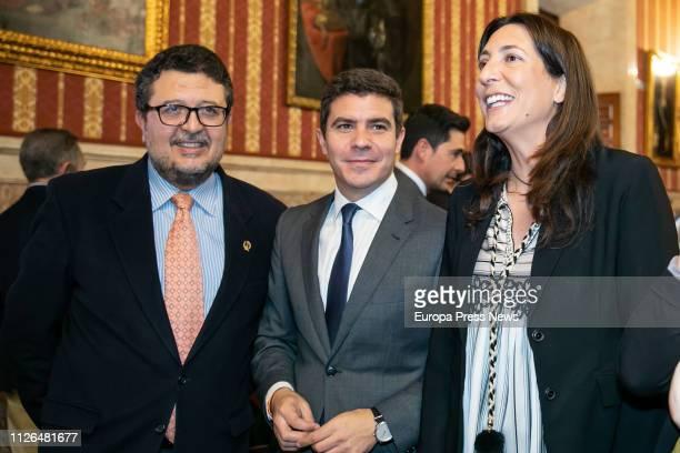 The spokesman of Vox in the Andalusian Parliament Francisco Serrano the spokesman of Ciudadanos in the regional Parliament Sergio Romero and the...
