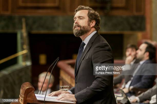 The spokesman of vOX in the Congress, Ivan Espinosa de los Monteros, during his speech in the debate on the request for the creation of a Joint...