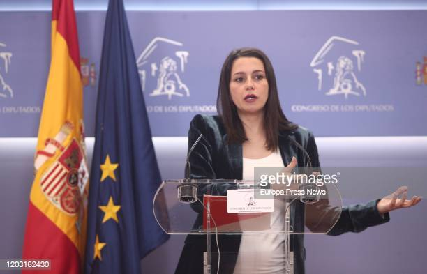The spokeswoman of Ciudadanos in the Congress of Deputies Ines Arrimadas giving a press conference on January 31 2020 in Madrid Spain