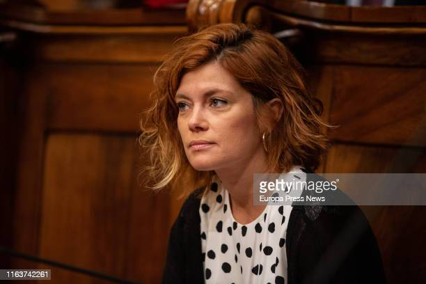 The spokeswoman of ERC in Barcelona, Elisenda Alamany, is seen during a extraordinary plenary session about Housing at Barcelona Town Hall on...