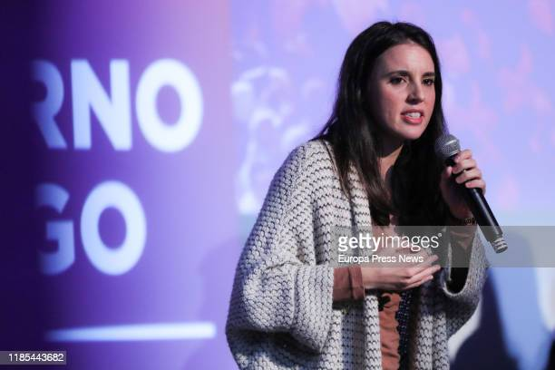 The spokeswoman of Unidas Podemos in the Parliament Irene Montero is seen during her speech at the opening of the campaign for the upcoming 10N...