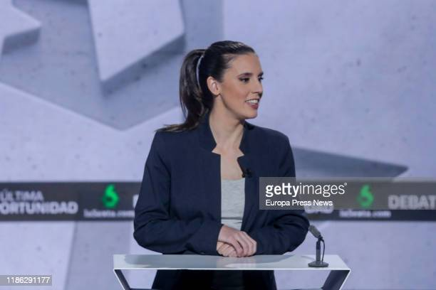 The spokeswoman of Unidas Podemos in the Parliament Irene Montero is seen during La Sexta electoral debate before the general elections on 10th...