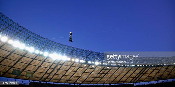 The sportcast spider camera is pictured during the DFB Cup Final match between Borussia Dortmund and VfL Wolfsburg at Olympiastadion on May 30 2015...