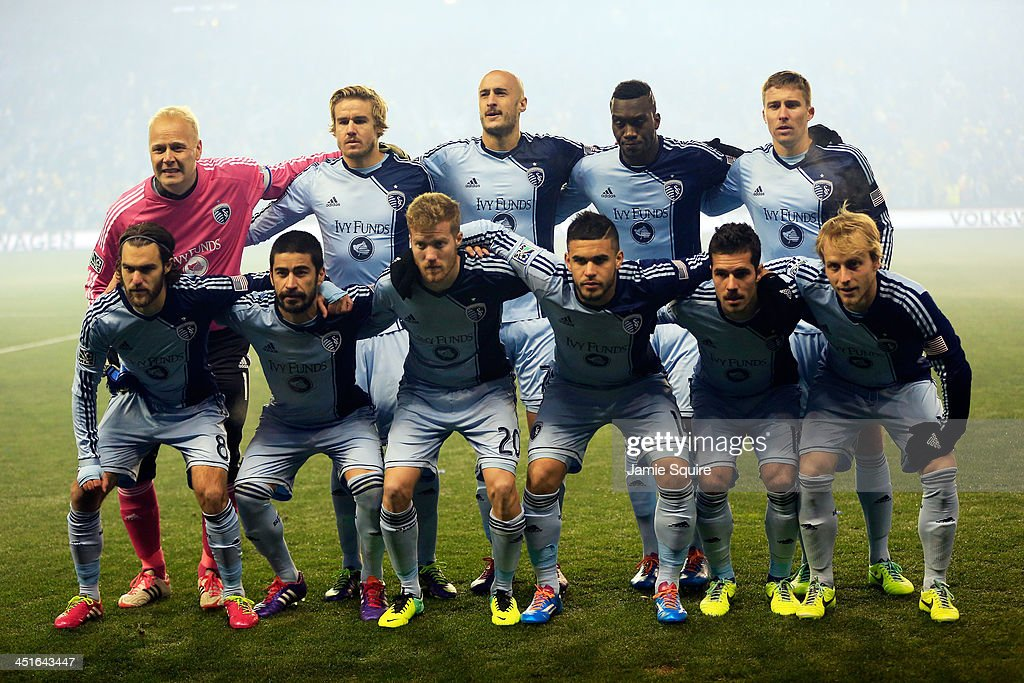 The Sporting KC starting lineup poses prior to Leg 2 of the Eastern Conference Championship against the Houston Dynamo at Sporting Park on November 23, 2013 in Kansas City, Kansas.