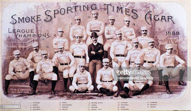 The Sporting Times cigar features a team portrait of the New York Giants, League champions, to sell the product, printed in 1888 in New York City....