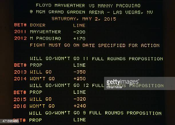The sports book at MGM Grand Hotel Casino displays the betting line for the upcoming fight between WBC/WBA welterweight champion Floyd Mayweather Jr...