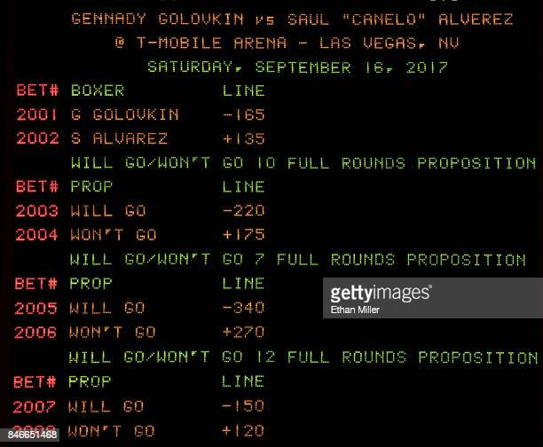 The sports book at MGM Grand Hotel Casino displays the betting line and proposition bets for the upcoming fight between WBC WBA and IBF middleweight...