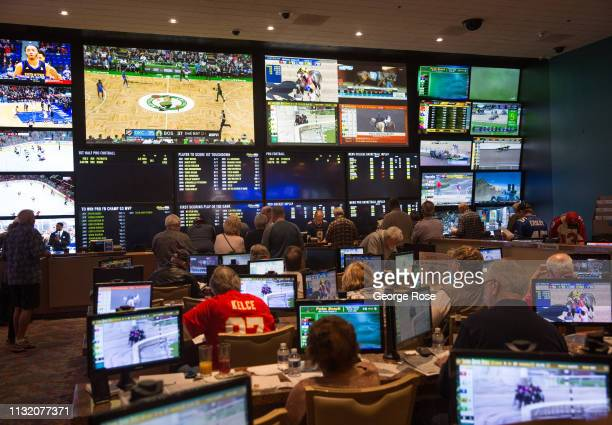 The sports book room at the Aquarius Hotel Casino is viewed on February 3 2019 in Laughlin Nevada Located on the Colorado River 90 miles south of Las...