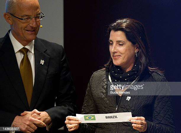 The sports director of the International Basketball Federation Lubomir Kotleba and Maria Paula Gonalves da Silva Magic Paula during the draw for the...