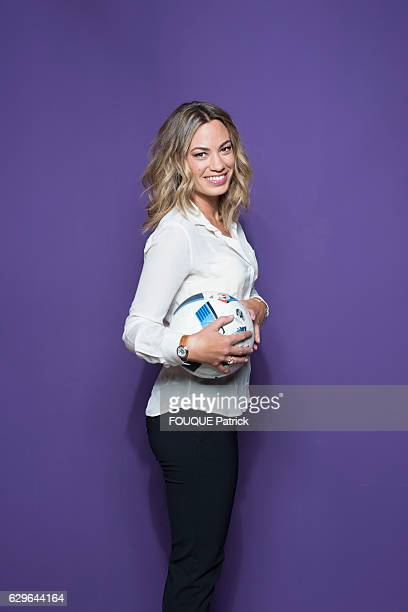 the sportwriter AnneLaure Bonnet poses for Paris Match on november 25 2016 in BoulogneBillancourt France