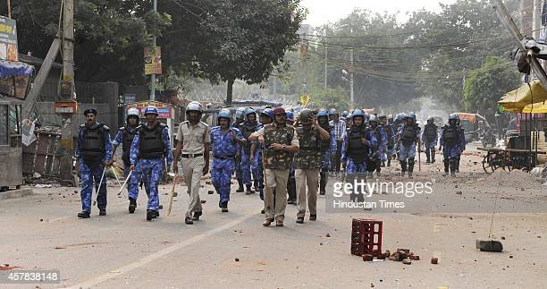 The spot shows trail of the Communal riots at Trilok Puri on October 25 2014 in New Delhi India A minor clash occurred between the two communities...