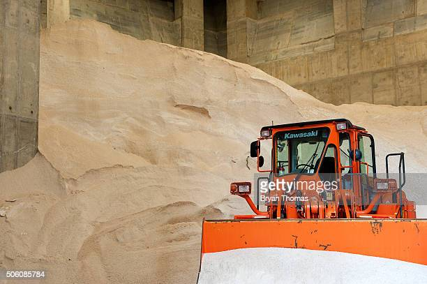 The Spring Street salt shed is filled with salt before an upcoming snowstorm on January 21 2016 in New York NY Winter Storm Jonas is expected to hit...