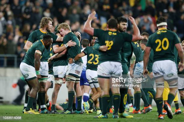 The Springboks celebrate after winning The Rugby Championship match between the New Zealand All Blacks and the South Africa Springboks at Westpac...
