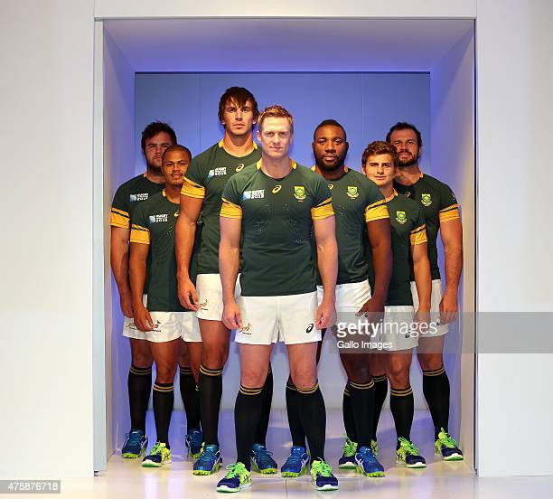 The Springboks during the Launch of the Springbok Rugby World Cup Jersey at Thunder City on June 04 2015 in Cape Town South Africa