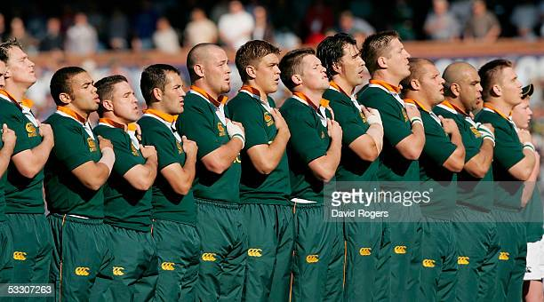 The Springboks line up for the anthems prior to the TriNations international rugby match between South Africa and Australia at Loftus Versfeld on...