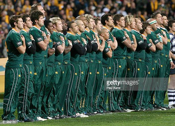 The Springboks line up for the national anthem during the 2008 Tri Nations series match between the Australian Wallabies and the South African...