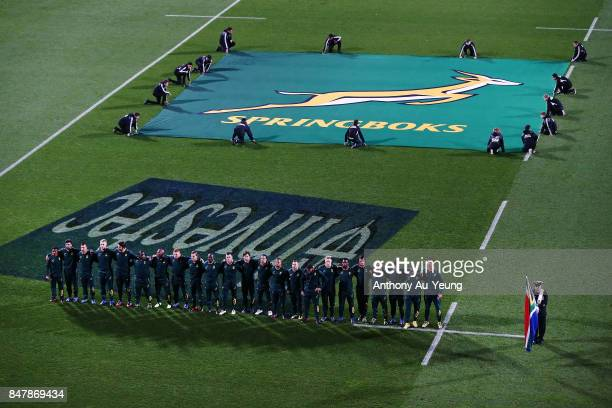 The Springboks lineup for the national anthem during the Rugby Championship match between the New Zealand All Blacks and the South African Springboks...