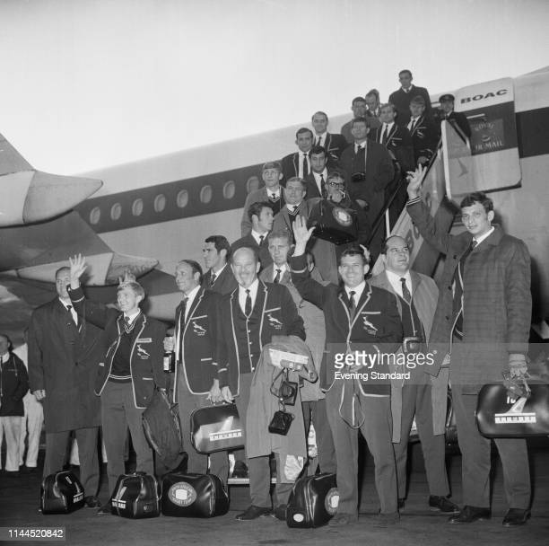 The Springboks South Africa national rugby union team arrive at Heathrow Airport for their tour of Britain and Ireland London UK 6th November 1969