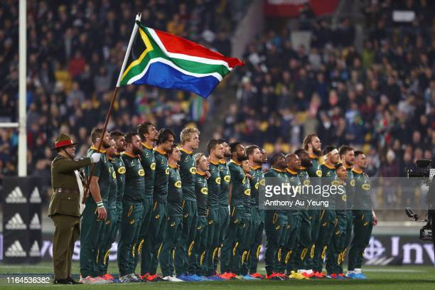 The Springboks stand for the national anthem during the 2019 Rugby Championship Test Match between New Zealand and South Africa at Westpac Stadium on...