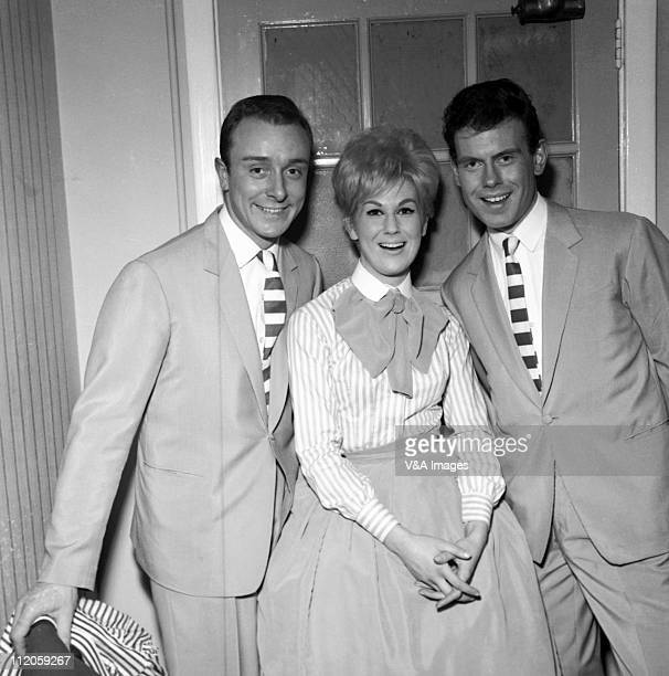 The Springfields Tim Feild Dusty Springfield Tom Springfield posed group shot backstage 1962