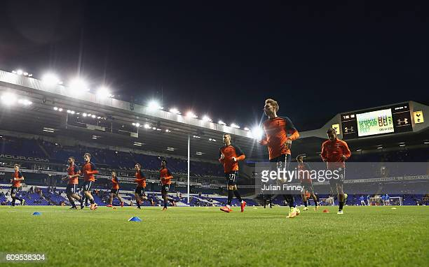 The Spurs players warm up prior to the EFL Cup Third Round match between Tottenham Hotspur and Gillingham at White Hart Lane on September 21 2016 in...