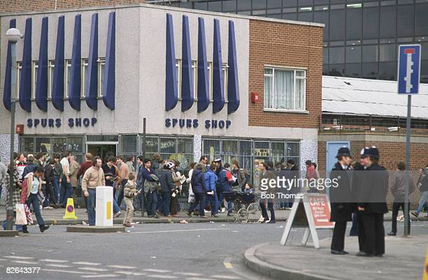 The Spurs Shop at the Park Lane end of Tottenham Hotspur's White Hart Lane stadium London 6th February 1982