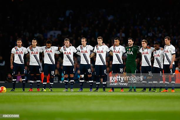 The Spurs team line up before the Barclays Premier League match between Arsenal and Tottenham Hotspur at Emirates Stadium on November 8 2015 in...