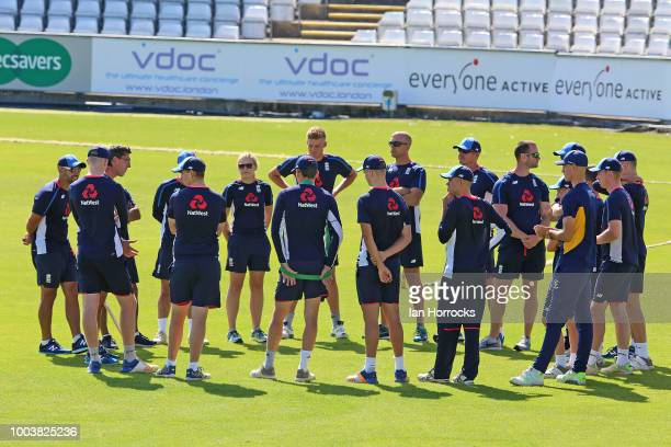The squad chats during an England Lions nets session at Emirates Riverside on July 22 2018 in ChesterleStreet England