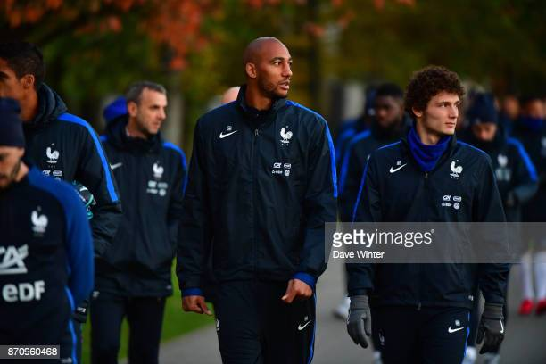 The squad including new caps Benjamin Pavard of France and Steven Nzonzi of France arrive for the training session at the Centre National de Football...