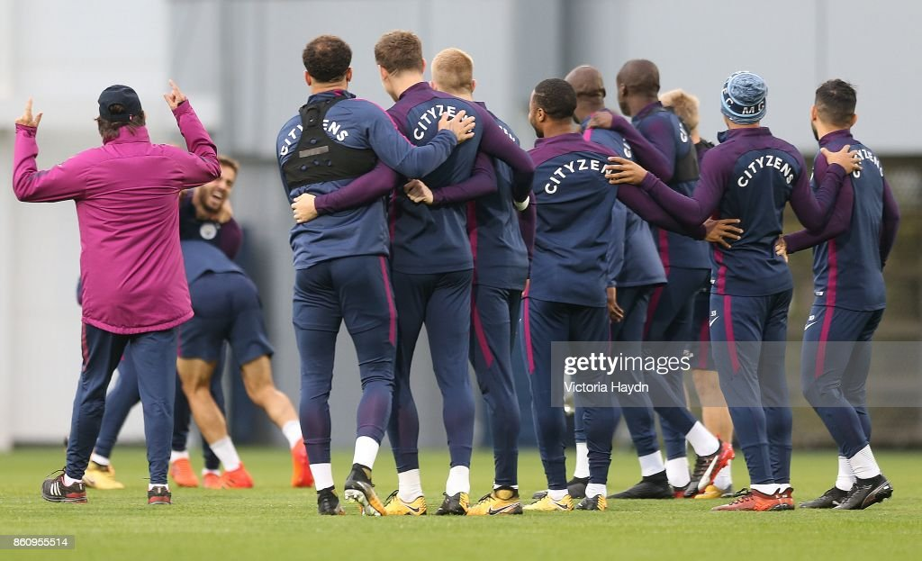 The squad joke during training at Manchester City Football Academy on October 13, 2017 in Manchester, England.