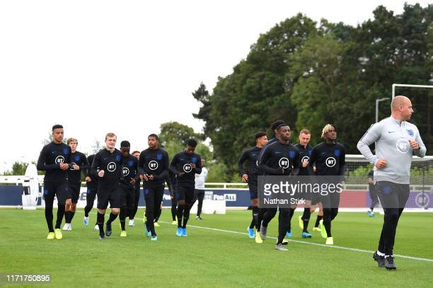 The squad train during an England U21's Media Access day at St Georges Park on September 02, 2019 in Burton-upon-Trent, England.
