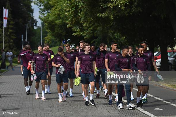 The squad walk to the England U21 training session and press conference on June 20 2015 in Olomouc Czech Republic