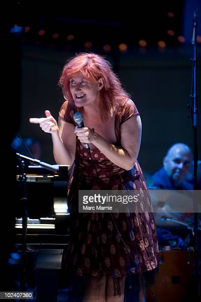 The Squadronaires RAF Big Band and Eddi Reader perform on stage in a special concert to raise money for wounded in Britain's current conflicts at...