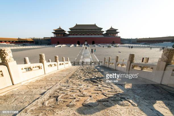 The Square and Meridian Gate in the front during a sunny day, the Forbidden City, Beijing, China