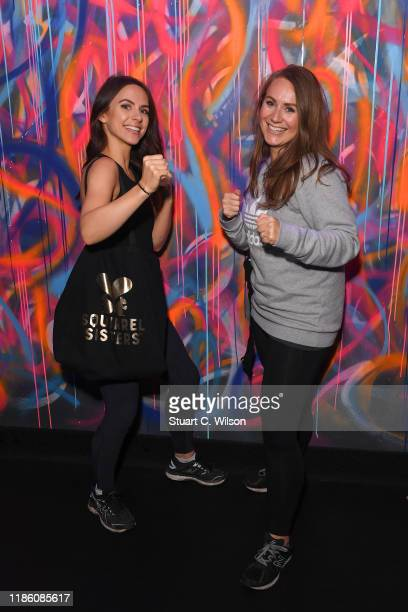 The 'Squirrel Sisters' Gracie Tyrrell and Sophie Tyrrell take part in a charity KOBOX class at KOBOX Marylebone raising funds for Rainbow Railroad a...