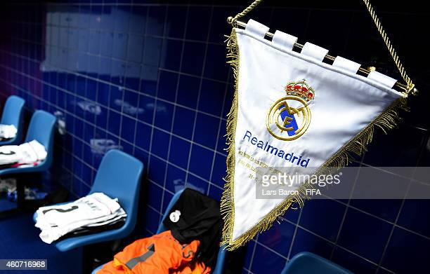 The SReal Madrid pennant is seen in the dressing room prior to the FIFA Club World Cup Final between Real Madrid and San Lorenzo at Marrakech Stadium...