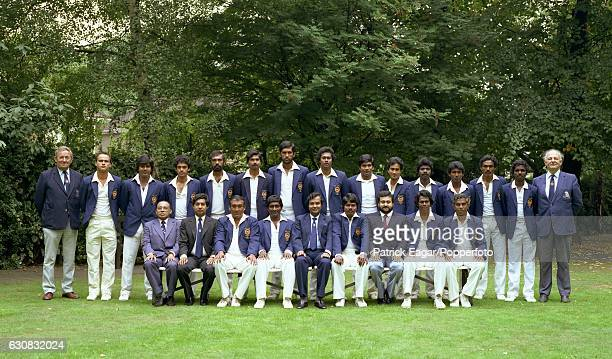 The Sri Lanka touring team at Lord's Cricket Ground London August 1984 Back row left to right Marlon Vonhagt Arjuna Ranatunga Ranjan Madugalle Mumtaz...
