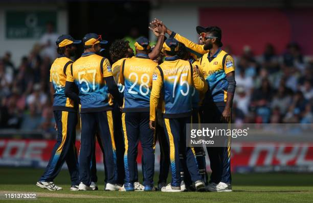 The Sri Lankan players celebrate as Joe Root is given out after a review during the ICC Cricket World Cup 2019 match between England and Sri Lanka at...