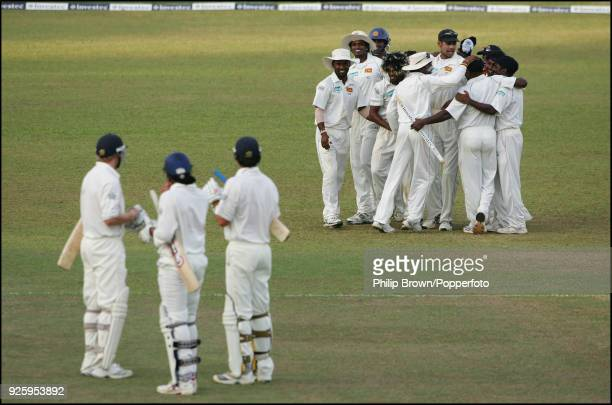 The Sri Lankan team celebrate in a huddle after winning the 1st Test match between Sri Lanka and England by 88 runs at Asgiriya Stadium Kandy 5th...