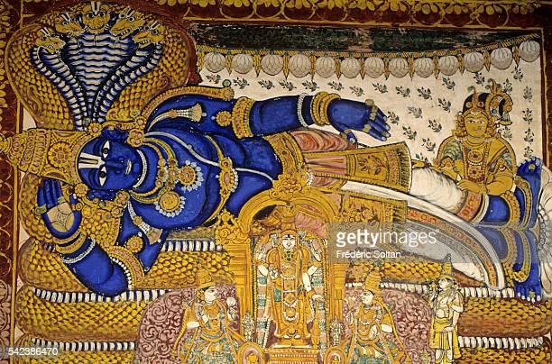 The Sri Ranganathaswamy Temple is dedicated to Lord Ranganatha a reclining form of Lord Vishnu Mural painting of Lord Ranganatha