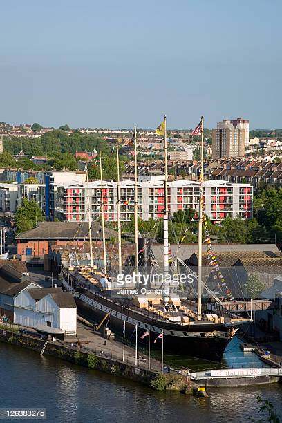 The SS Great Britain and floating harbour at Bristol docks, designed by Isambard Kingdom Brunel and launched in 1843 as a passenger ship providing luxury travel to New York, it set new standards in engineering, reliability and speed